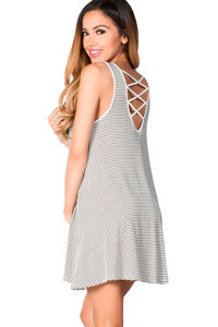 """Natalie"" White and Black Striped Strappy Back Tank Jersey Trapeze Dress image"