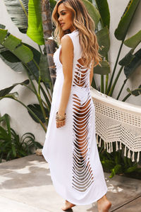 Mezcal White Ripped Cutout Cover Up Dress image