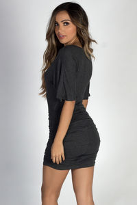 """""""Hannah"""" Charcoal Dolman Sleeve Ruched Jersey Dress image"""