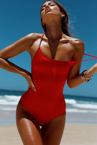 Marilyn Red Back Lace Up One Piece Swimsuit image