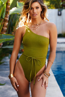 Olive & Gold Shimmer One Shoulder One Piece image