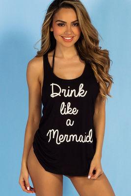 Black Drink Like a Mermaid Beach Tank image