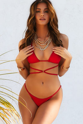 Red Strappy Triangle Bikini Top image