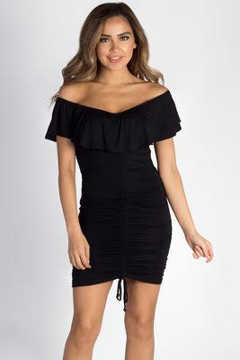 """""""Would You Ever"""" Black Ruched Off Shoulder Dress image"""