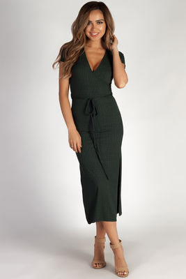 """""""Next To You"""" Pine Green Ribbed Wrap Dress image"""
