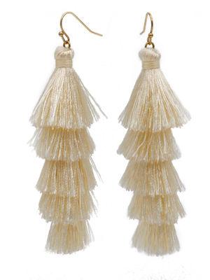 Ivory Fringe Tassel Earrings image
