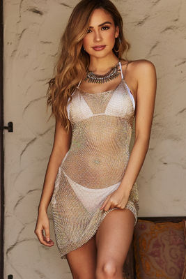 Manhattan Gold Metallic Open Knit Halter Cover Up image