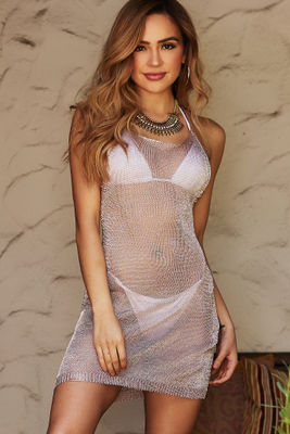 Manhattan Blush Metallic Open Knit Halter Cover Up image