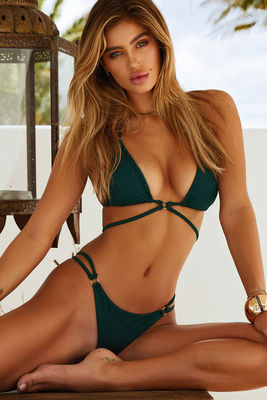 Hunter Green Center Loop Wrap Around Bikini Top image