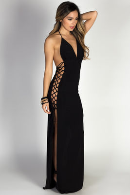 """Jazzmyn"" Black Side Lace Up Maxi Halter Dress image"
