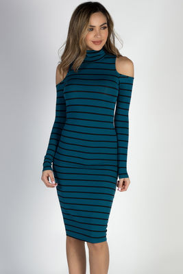 """Whatever She Wants"" Teal & Black Striped Cold Shoulder Midi Dress image"