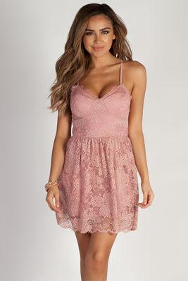 """Me Time"" Blush Floral Lace Skater Dress image"