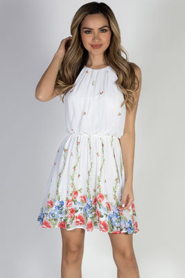 """""""Head in the Clouds"""" Ivory Floral Short Chiffon Dress image"""