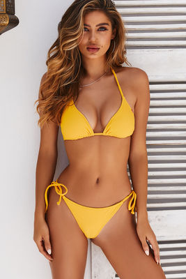 Yellow Ribbed Triangle Top image
