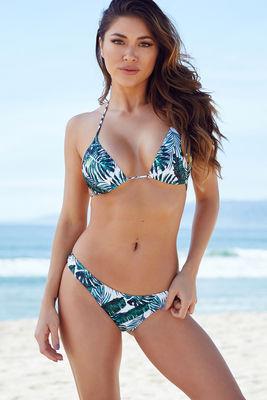 Tropical Palm Print Triangle Bikini Top image