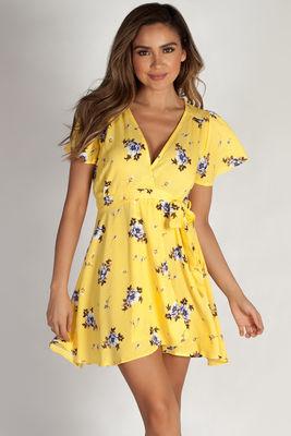 """Hillside"" Yellow Floral Crepe Wrap Dress image"