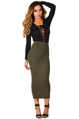 """""""Holly"""" Olive Green Cozy Knit High Waisted Midi Pencil Skirt image"""