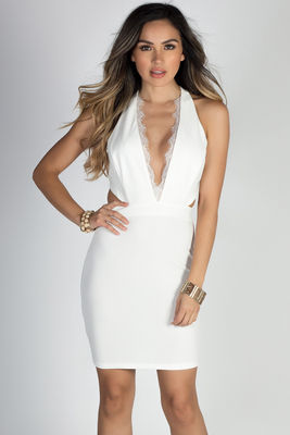 """""""Above & Beyond"""" Ivory White Eyelash Lace Cut Out Cocktail Dress image"""
