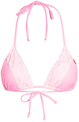 Baby Pink & White Edge Lace Triangle Top image