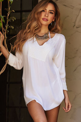 Azores Sheer White Long Sleeve Beach Cover Up image