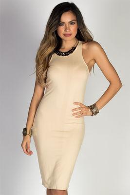 """Body Talk"" Nude Jersey Bodycon Tank Midi Dress image"