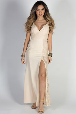 """""""This is Heaven"""" Nude Spaghetti Strap Sexy Long Lace Dress image"""