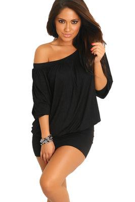 """Elena"" Black Off-the-Shoulder Tunic Dress image"