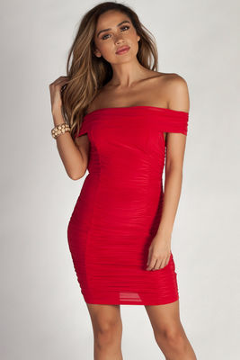 """""""Say Less"""" Red Off Shoulder Ruched Bodycon Mini Dress image"""