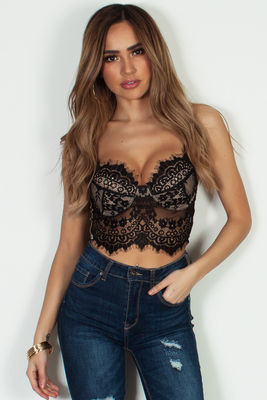 """""""Ce Soir"""" Black And Nude Lace Underwire Bralette image"""