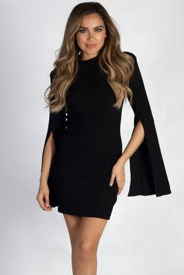 """""""Feelings To The Side"""" Black Shimmer Split Bell Sleeve Mock Neck Dress image"""