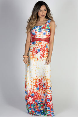 """""""Glam Getaway"""" Red Floral Print & Jeweled Lace One Shoulder Maxi Dress image"""