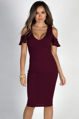"""""""Midnight in Paris"""" Burgundy Cold Shoulder Flutter Sleeve Midi Dress image"""