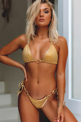 Cabo Sexy Metallic Gold Bikini Triangle Top image