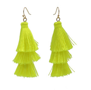 Fiery Neon Yellow Fringe Earrings image