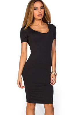 """Prue"" Black Short Sleeve Jersey Bodycon Casual Dress image"