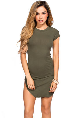 """Ciara"" Olive Ribbed Jersey Short Sleeve Bodycon Casual Tunic Dress image"