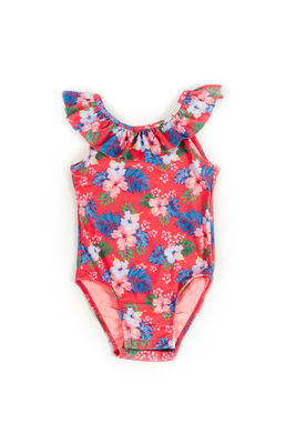 Cleo Pink Hibiscus Print Baby/Toddler One Piece Swimsuit image