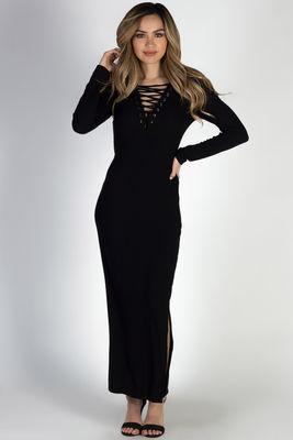 """Giving Me Feels"" Black Crisscross V Neck Bodycon Maxi Dress image"