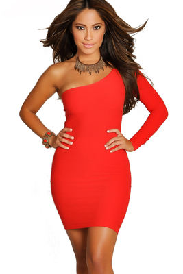 """Vivica"" Red One Shoulder Bodycon Club Dress image"