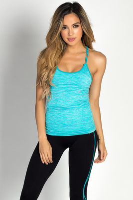 """Chakra"" Turquoise Blue Strappy Sport Performance Top image"