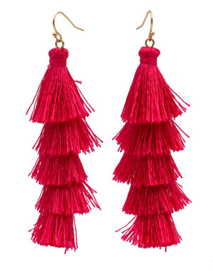 Fuchsia Fringe Tassel Earrings image
