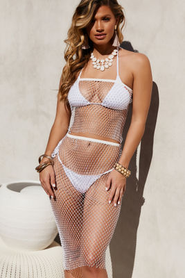 Disco Queen Ivory Rhinestone Tube Top Cover Up image
