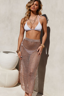 Sea Breeze Metallic Rose Gold Crochet Fishnet Beach Skirt image