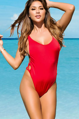 Los Angeles Red High Cut One Piece Scrunch Bun® Swimsuit image