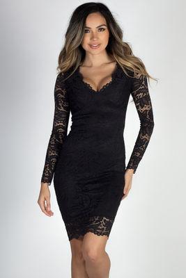 """""""Champs-Élysées"""" Black Long Sleeve Lace Dress image"""