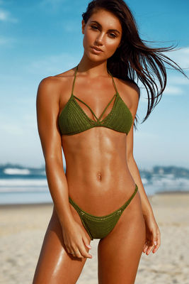 Lemongrass Olive Bikini Top image