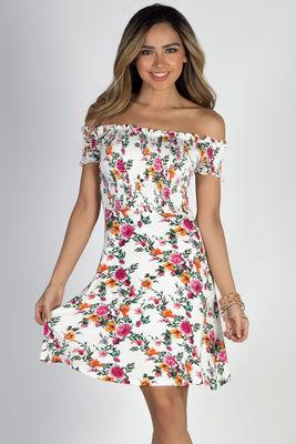 """""""My Dream"""" White Floral Off Shoulder Dress image"""