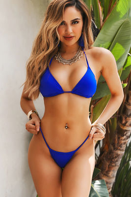 Solid Royal Blue Y-Back Thong Underwear image