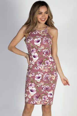 """Storybook Ending"" Mauve Floral Bodycon Strappy Midi Dress image"