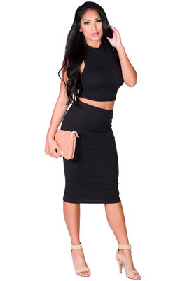 """Gwyneth"" Black Jersey High Waisted Midi Pencil Skirt image"